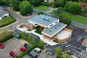the hub on rye hill community center aerial view