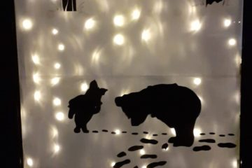 Woodland snow scene with Pooh and Piglet